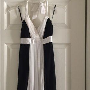 Alyn Paige black & white dress